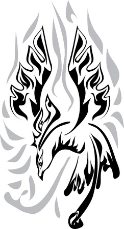 superstitions: Vector illustration of phoenix, black-and-white, graphic. Illustration
