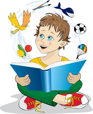 storytelling: Boy reading a magic book. Illustration