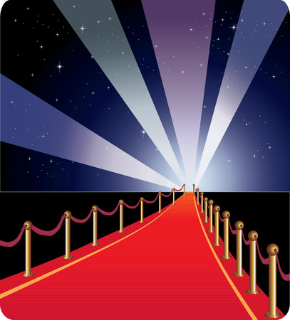 Red carpet going into the distance. The starry arch and the spotlights rays.
