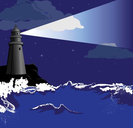 lighthouse at night: Faro en la noche
