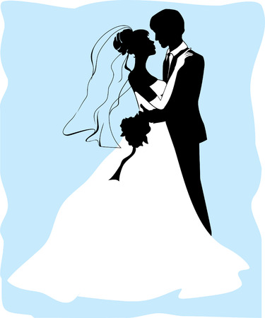 nuptials: Bride and groom silhouettes Illustration