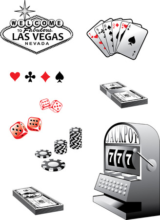 dice: Set of gambling elements - cards, colors, loaded dice etc Illustration
