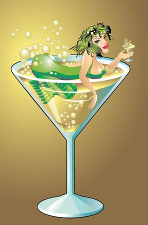 red siren: Mermaid in a glass of shampain