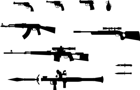 Silhouettes of pistol, revolver, grenade, automatic weapons, rifles and knifes.
