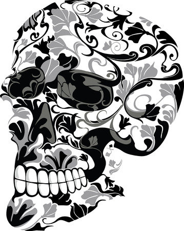 Skull consisting of flowers Vector