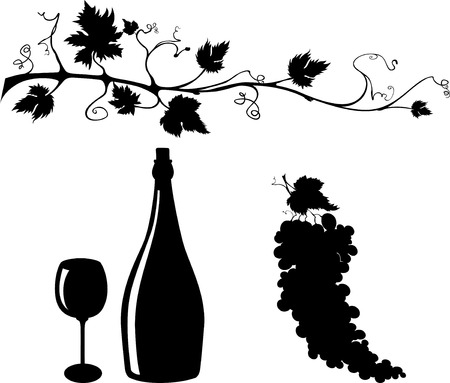 Wine related objects silhouettes set Vector