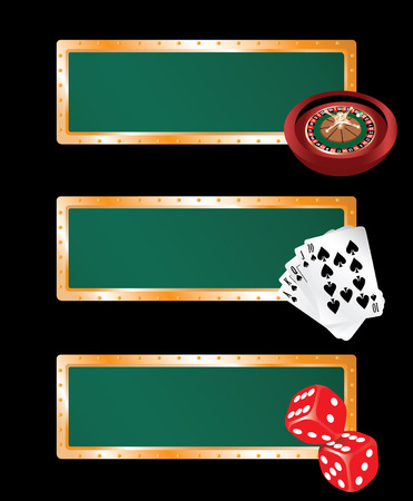 Three casino banners - with roulette, cards and bones Vector