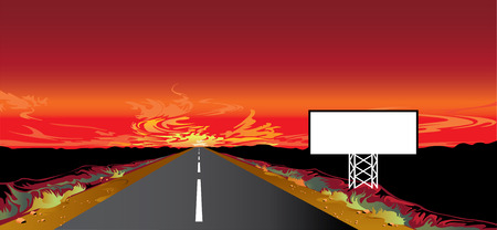 horizont: Sunset on the road and billboard Illustration