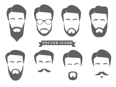 facial hair: Vector Face Icons Illustration