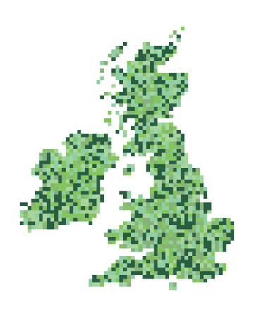 isles: A pixel art style vector of the British Isles and Ireland