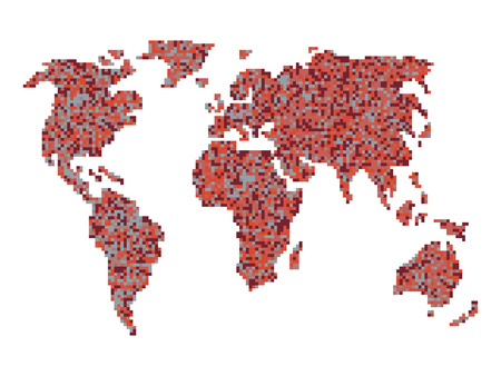 An abstract vector outline of a world map in a pixel art style an abstract vector outline of a world map in a pixel art style vector gumiabroncs Image collections