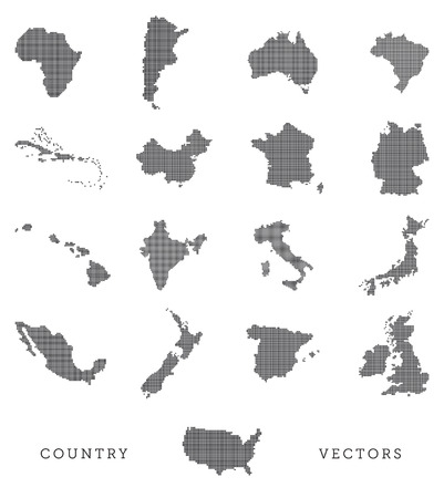 map of china: A vector set of various country shapes in a pixel art style Illustration