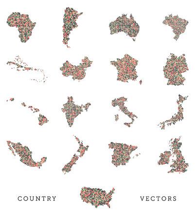carribean: Un conjunto de vectores de varios pa�s configura en un estilo pixel art