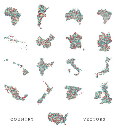 A vector set of various country shapes in a pixel art style Vector