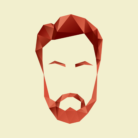 men hair: Vector icon of a mans face in a polygon style Illustration