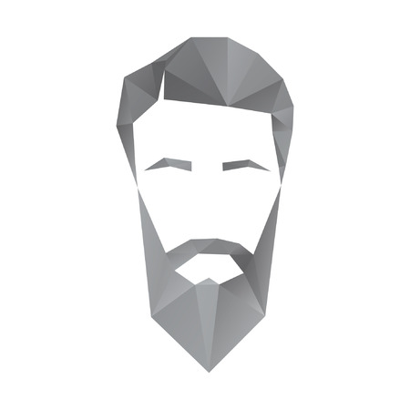slick: Vector icon of a mans face in a polygon style Illustration
