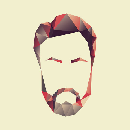 Vector icon of a mans face in a polygon style Illustration