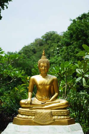 Golden buddha doing the meditation in the south of Thailand
