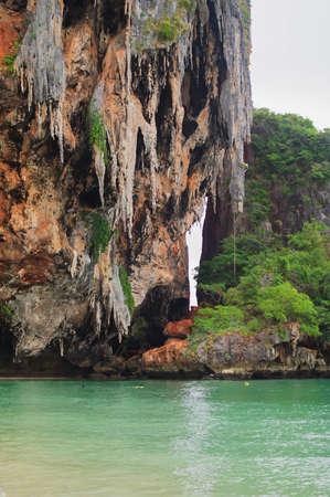 Rocks standing in the sea in Krabi Stock Photo