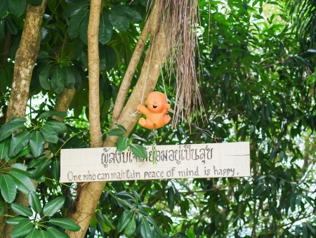 proverb hanging in the tree in a temple in Thailand