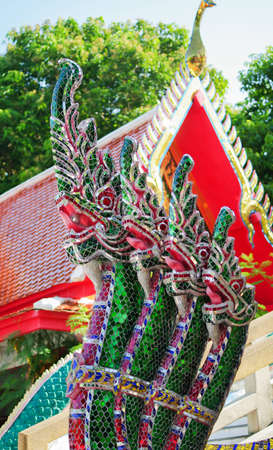 heads of naga at a temple in Thailand