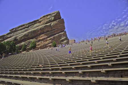 red rocks: People jogging on the bleachers at the Red Rocks amphitheater. Editorial