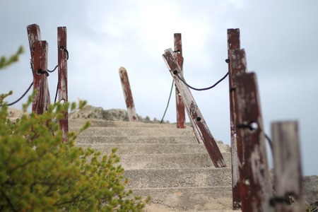 Stairway up the cliffs on Isla Mujeres, Mexico.