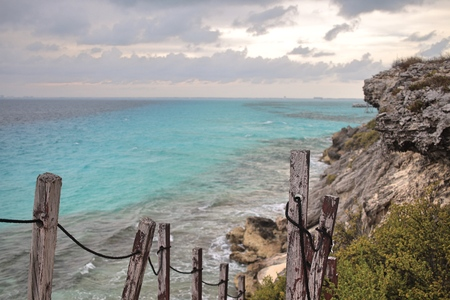 Old stairway down the cliff on Isla Mujeres, Mexico.