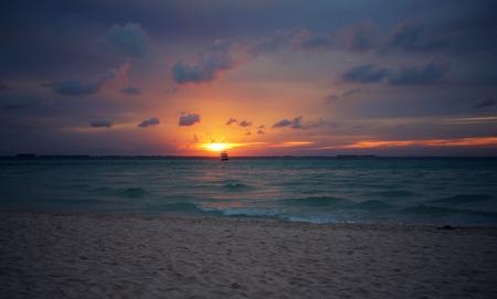 Sunset on Playa Norte beach on Isla Mujeres, Mexico