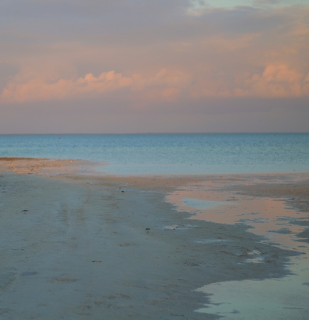 Tide is out at Isla Blanca Park outside Cancun, Mexico.