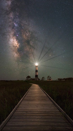 obx: Boardwalk to Bodie Island Lighthouse and Milky Way Galaxy