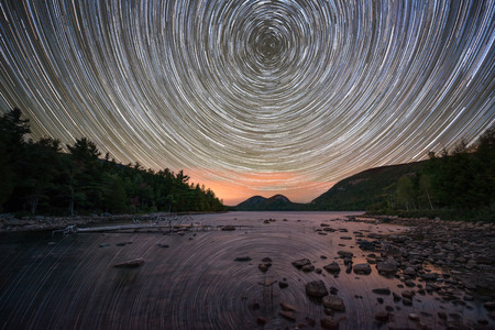 Star Trails over Jordan Pond in Maine