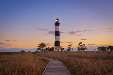 Path Leading to Bodie Lighthouse in North Carolina Stock Photo