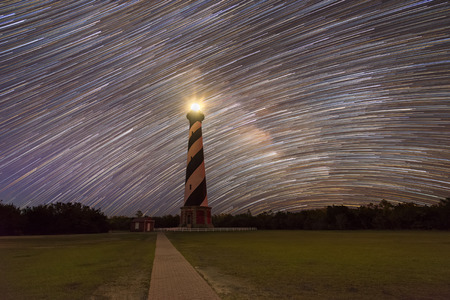 Star Trails behind Cape Hatteras lighthouse