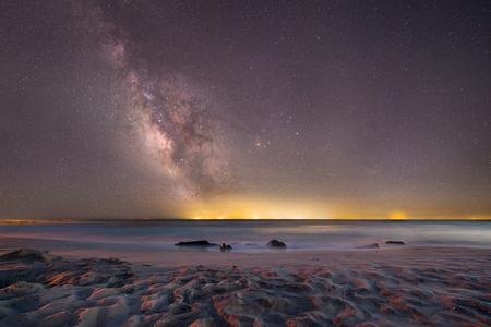 Milky way Galaxy from Cape May New Jersey Stock Photo