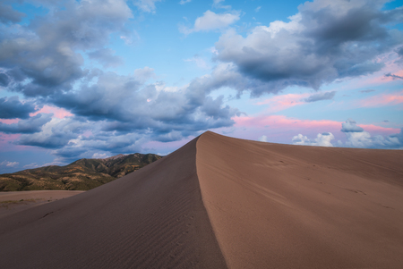 Sand Dune sunset in Colorado Stock Photo