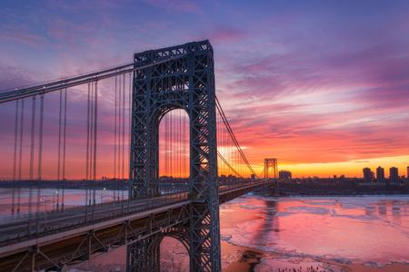 George Washington Bridge at dawn in the winter