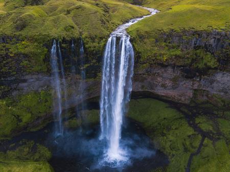 Seljalandsfoss waterfall aerial view in Iceland