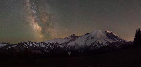 Milky Way Galaxy over Mount Rainier in Washington State