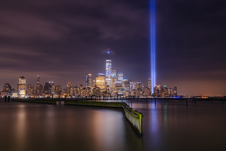 Tribute In Light Memorial on September 11th from Jersey City Waterfront Walkway