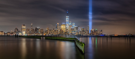 Panorama of Manhattan from Jersey City during September 11th Tribute In Light Memorial