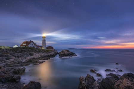 Stars over Portland Head Lighthouse at Cape Elizabeth Maine 写真素材