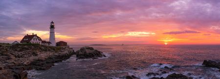 Panorama sunrise of Portland Head Lighthouse at Cape Elizabeth Maine Фото со стока