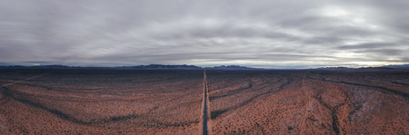 Panoramic aerial view of Moapa valley in Nevada Stock Photo