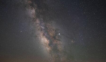 Milky Way Galaxy and Jupiter Stock Photo