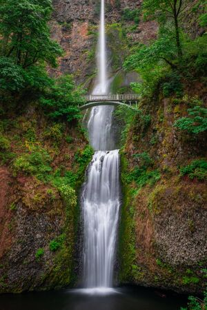 Famous view of Multnomah Falls along the Columbia River in Oregon