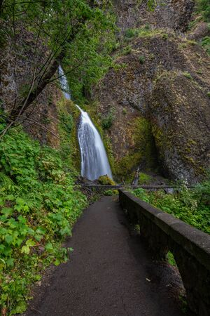 Hiking trail leading towards Wahkeena Falls along the Columbia River Gorge in Oregon