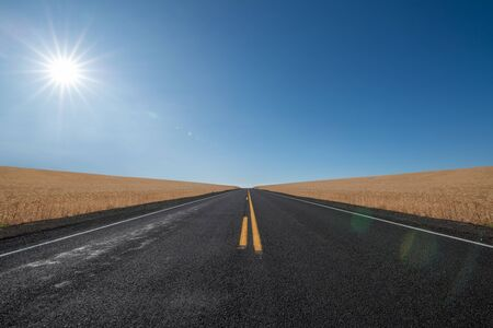 Sunshine over a straightaway road and wheat fields in Oregon Stock fotó