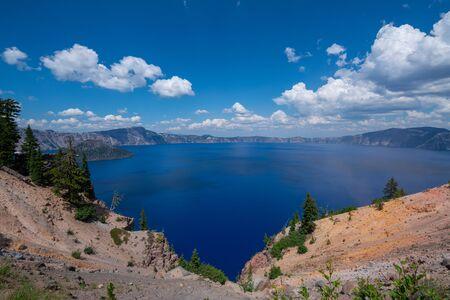 Beautiful blue Crater Lake panorama near Rim Village