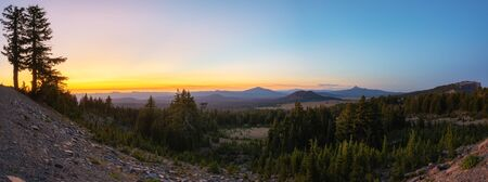 Beautiful sunset from rim drive in Crater lake National Park, Oregon